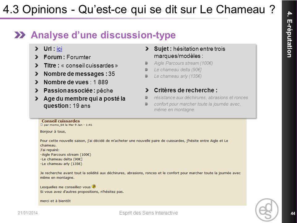 4.3 Opinions - Quest-ce qui se dit sur Le Chameau ? 21/01/2014 Esprit des Sens Interactive 44 4. E-réputation Analyse dune discussion-type Url : iciic