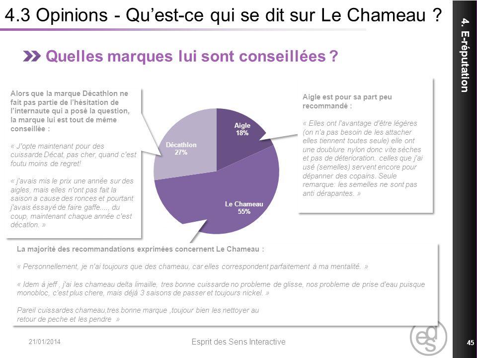 4.3 Opinions - Quest-ce qui se dit sur Le Chameau ? 21/01/2014 Esprit des Sens Interactive 45 4. E-réputation Quelles marques lui sont conseillées ? L