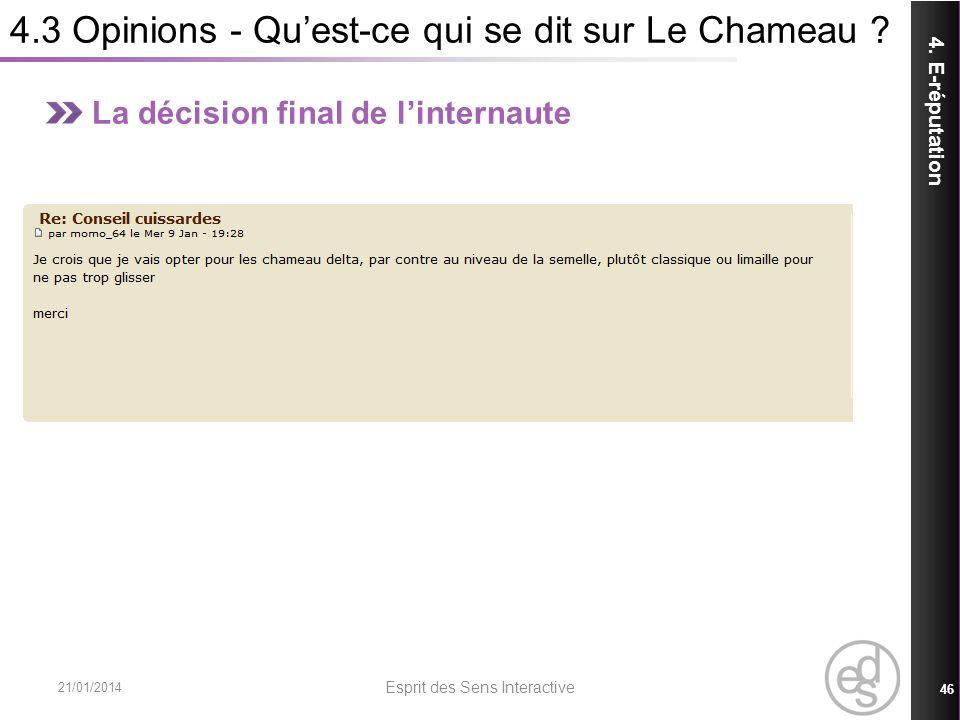 4.3 Opinions - Quest-ce qui se dit sur Le Chameau ? 21/01/2014 Esprit des Sens Interactive 46 4. E-réputation La décision final de linternaute