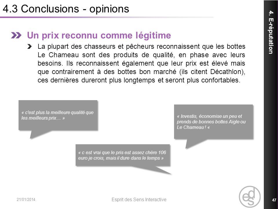 4.3 Conclusions - opinions 21/01/2014 Esprit des Sens Interactive 47 4. E-réputation Un prix reconnu comme légitime La plupart des chasseurs et pêcheu