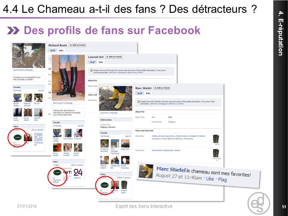 4.4 Le Chameau a-t-il des fans ? Des détracteurs ? 21/01/2014 Esprit des Sens Interactive 51 4. E-réputation Des profils de fans sur Facebook