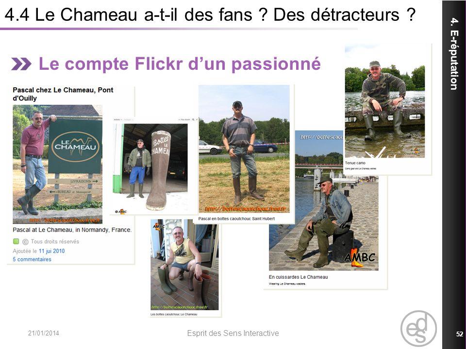 4.4 Le Chameau a-t-il des fans ? Des détracteurs ? 21/01/2014 Esprit des Sens Interactive 52 4. E-réputation Le compte Flickr dun passionné
