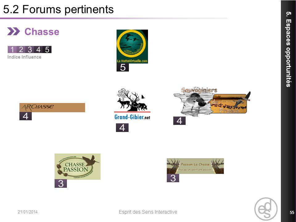 5.2 Forums pertinents 21/01/2014 Esprit des Sens Interactive 55 5. Espaces opportunités Chasse Indice Influence