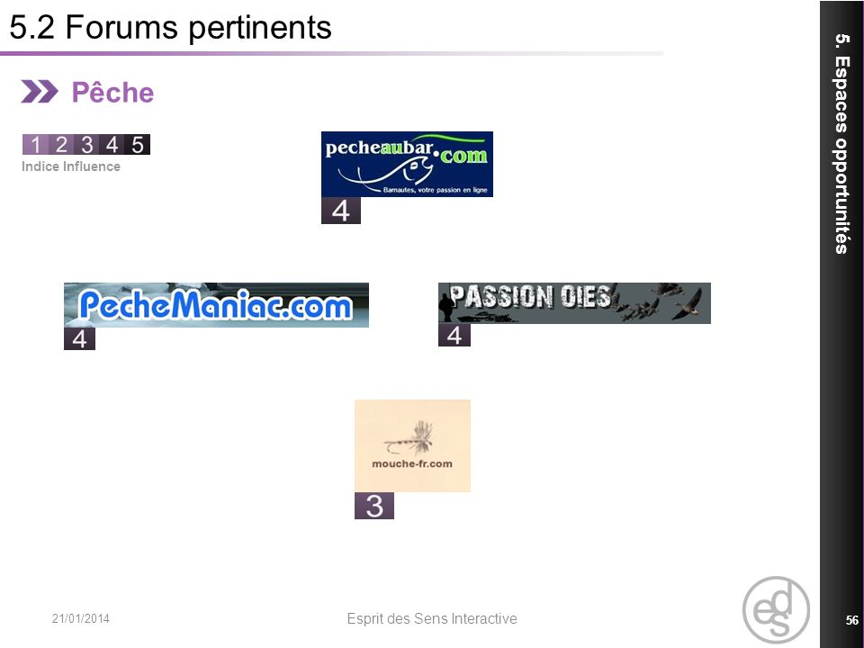 5.2 Forums pertinents 21/01/2014 Esprit des Sens Interactive 56 5. Espaces opportunités Pêche Indice Influence