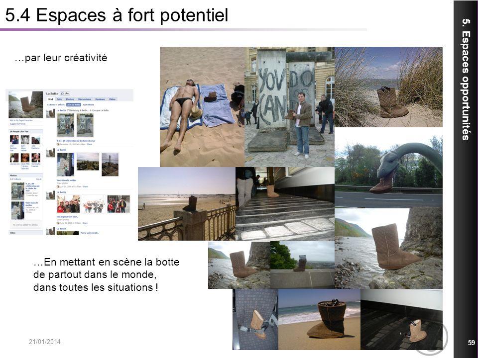 5.4 Espaces à fort potentiel 21/01/2014 59 5. Espaces opportunités …par leur créativité …En mettant en scène la botte de partout dans le monde, dans t