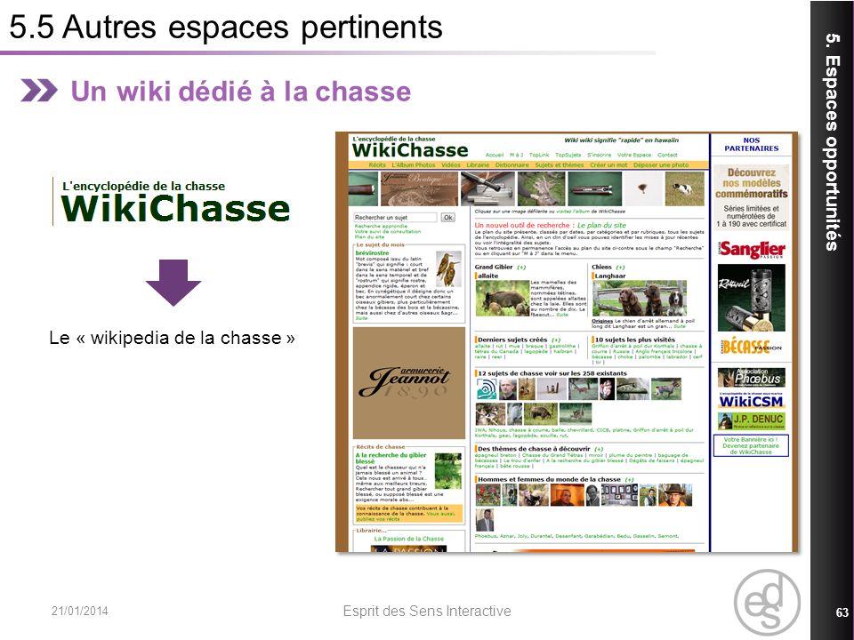 5.5 Autres espaces pertinents 21/01/2014 Esprit des Sens Interactive 63 5. Espaces opportunités Un wiki dédié à la chasse Le « wikipedia de la chasse