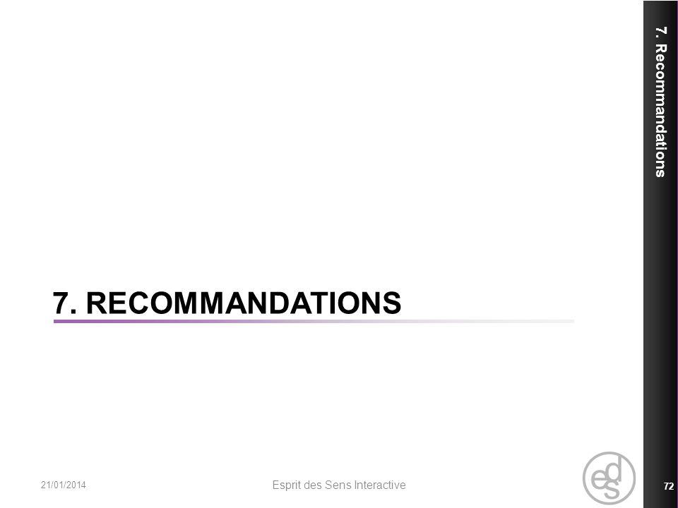 7. RECOMMANDATIONS 7. Recommandations 21/01/2014 Esprit des Sens Interactive 72