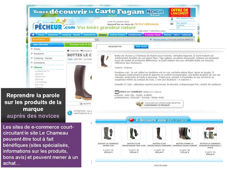 21/01/2014 Esprit des Sens Interactive 73 Les sites de e-commerce court- circuitant le site Le Chameau peuvent être tout à fait bénéfiques (sites spéc