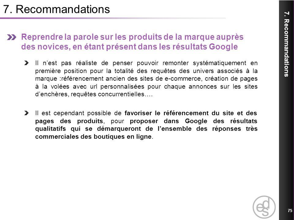 7. Recommandations 75 7. Recommandations Reprendre la parole sur les produits de la marque auprès des novices, en étant présent dans les résultats Goo