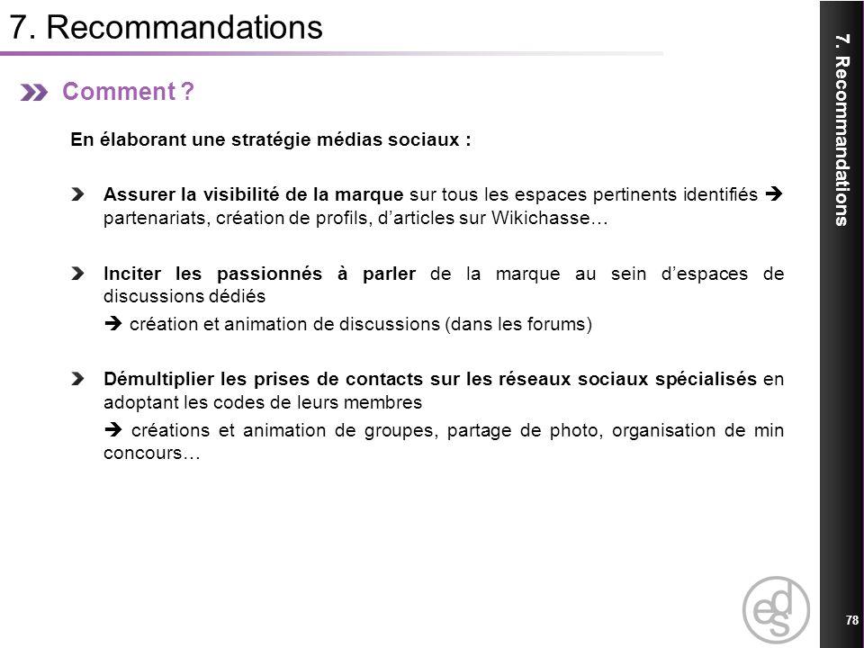 7. Recommandations 78 7. Recommandations Comment ? En élaborant une stratégie médias sociaux : Assurer la visibilité de la marque sur tous les espaces
