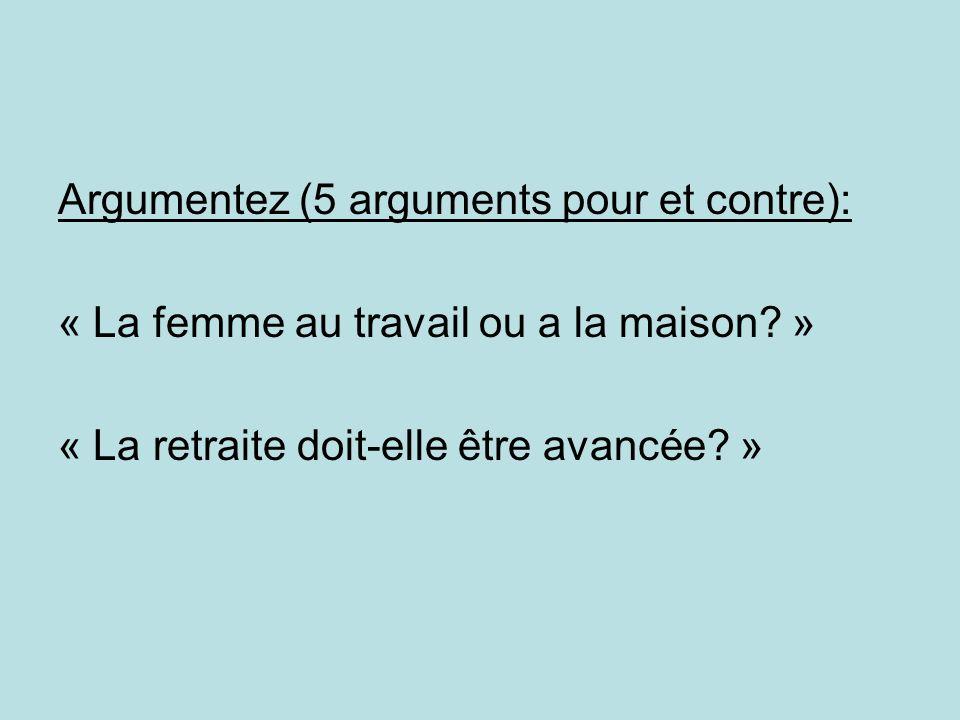 Argumentez (5 arguments pour et contre): « La femme au travail ou a la maison.