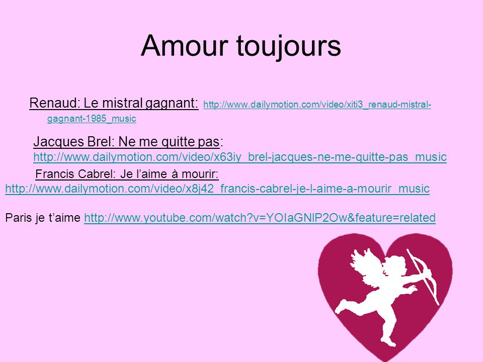 Amour toujours Renaud: Le mistral gagnant: http://www.dailymotion.com/video/xiti3_renaud-mistral- gagnant-1985_music http://www.dailymotion.com/video/
