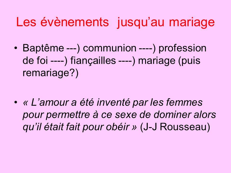 Les évènements jusquau mariage Baptême ---) communion ----) profession de foi ----) fiançailles ----) mariage (puis remariage?) « Lamour a été inventé