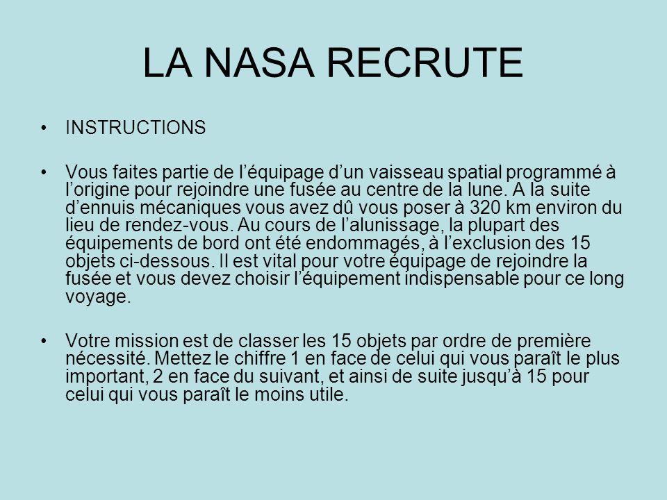INSTRUCTIONS Vous faites partie de léquipage dun vaisseau spatial programmé à lorigine pour rejoindre une fusée au centre de la lune. A la suite dennu