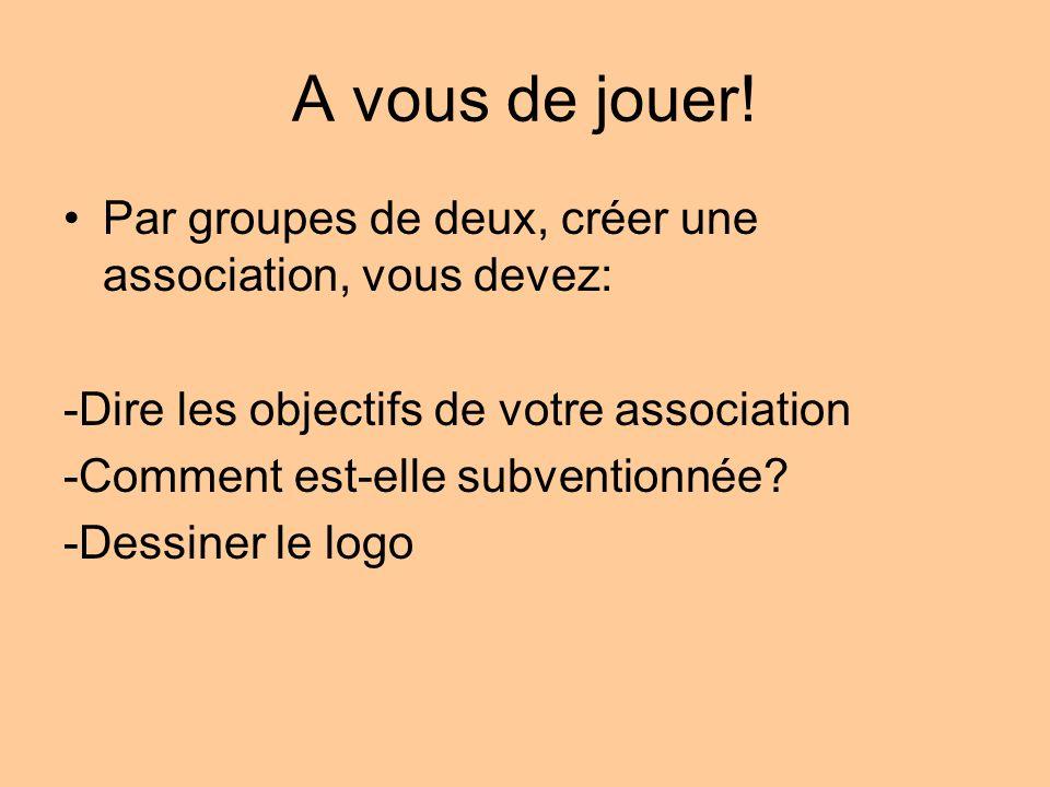 A vous de jouer! Par groupes de deux, créer une association, vous devez: -Dire les objectifs de votre association -Comment est-elle subventionnée? -De