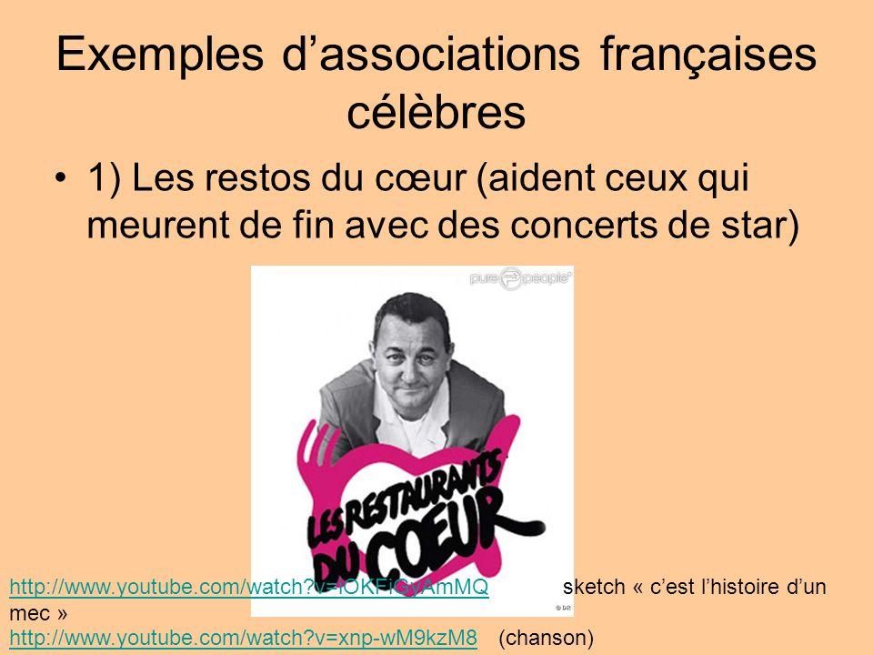 Exemples dassociations françaises célèbres 1) Les restos du cœur (aident ceux qui meurent de fin avec des concerts de star) http://www.youtube.com/wat