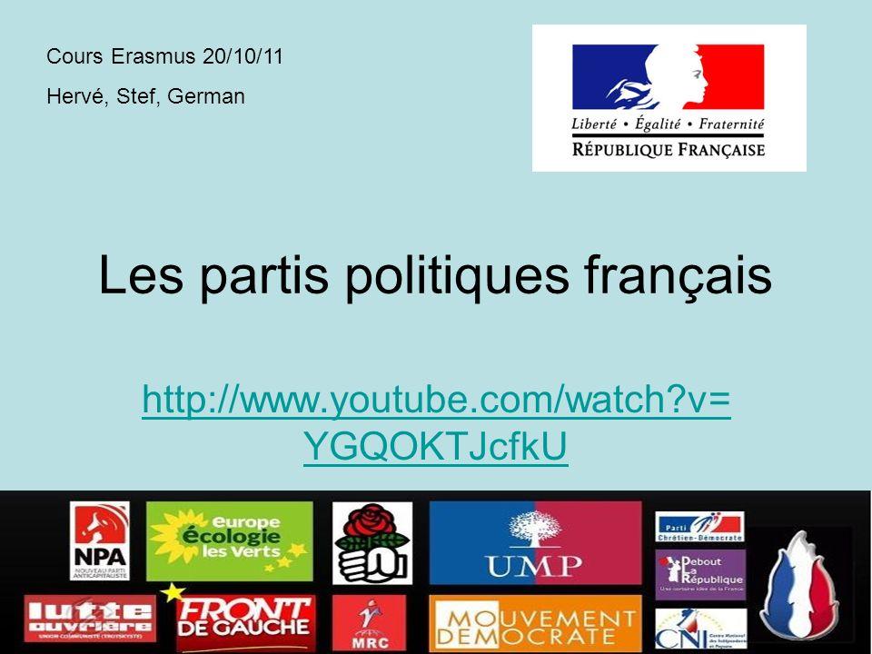 Les partis politiques français http://www.youtube.com/watch?v= YGQOKTJcfkU Cours Erasmus 20/10/11 Hervé, Stef, German