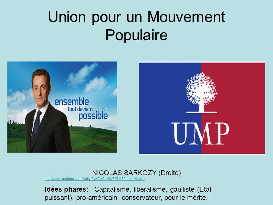 Union pour un Mouvement Populaire NICOLAS SARKOZY (Droite) http://www.youtube.com/watch?v=CVCpwfwExBM&feature=fvwrel http://www.youtube.com/watch?v=CV
