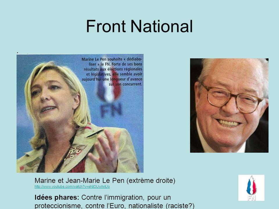 Front National. Marine et Jean-Marie Le Pen (extrème droite) http://www.youtube.com/watch?v=eNlOUwhrjUo http://www.youtube.com/watch?v=eNlOUwhrjUo Idé