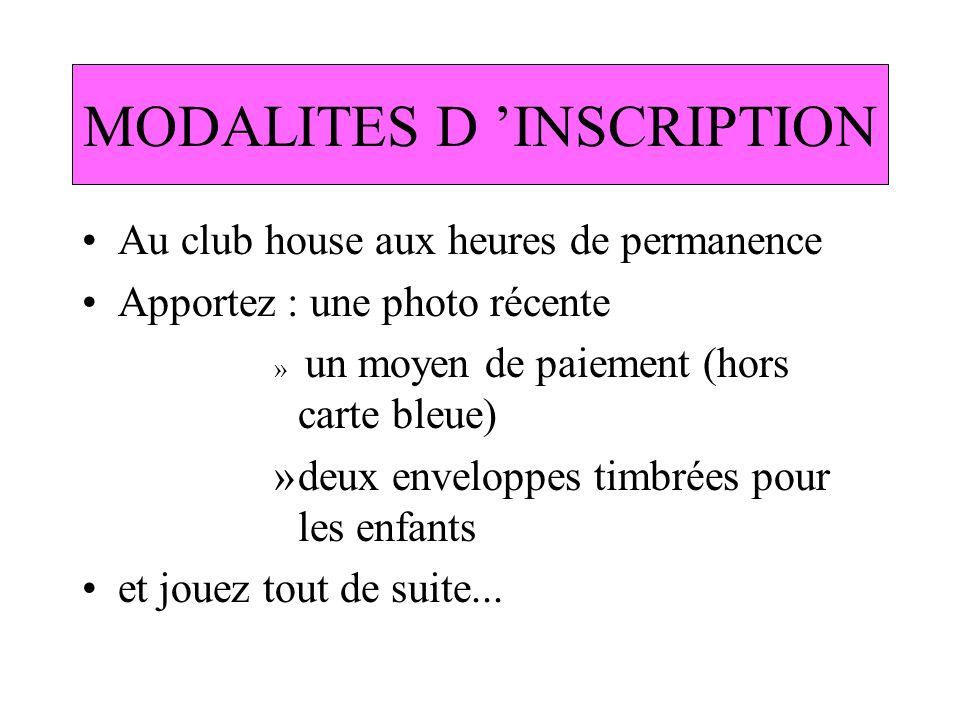 MODALITES D INSCRIPTION Au club house aux heures de permanence Apportez : une photo récente » un moyen de paiement (hors carte bleue) »deux enveloppes