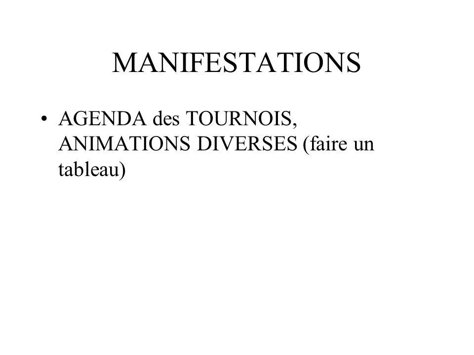 MANIFESTATIONS AGENDA des TOURNOIS, ANIMATIONS DIVERSES (faire un tableau)