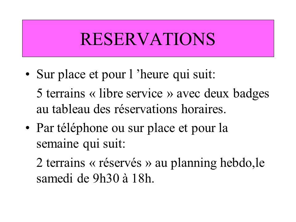 RESERVATIONS Sur place et pour l heure qui suit: 5 terrains « libre service » avec deux badges au tableau des réservations horaires. Par téléphone ou