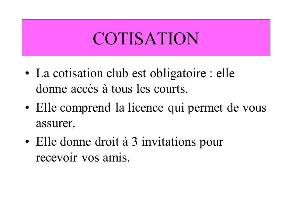 COTISATION La cotisation club est obligatoire : elle donne accès à tous les courts. Elle comprend la licence qui permet de vous assurer. Elle donne dr