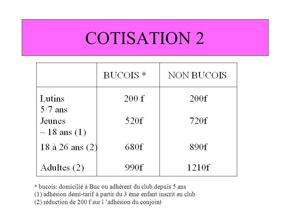 COTISATION 2 * bucois: domicilié à Buc ou adhérent du club depuis 5 ans (1) adhésion demi-tarif à partir du 3 ème enfant inscrit au club (2) réduction