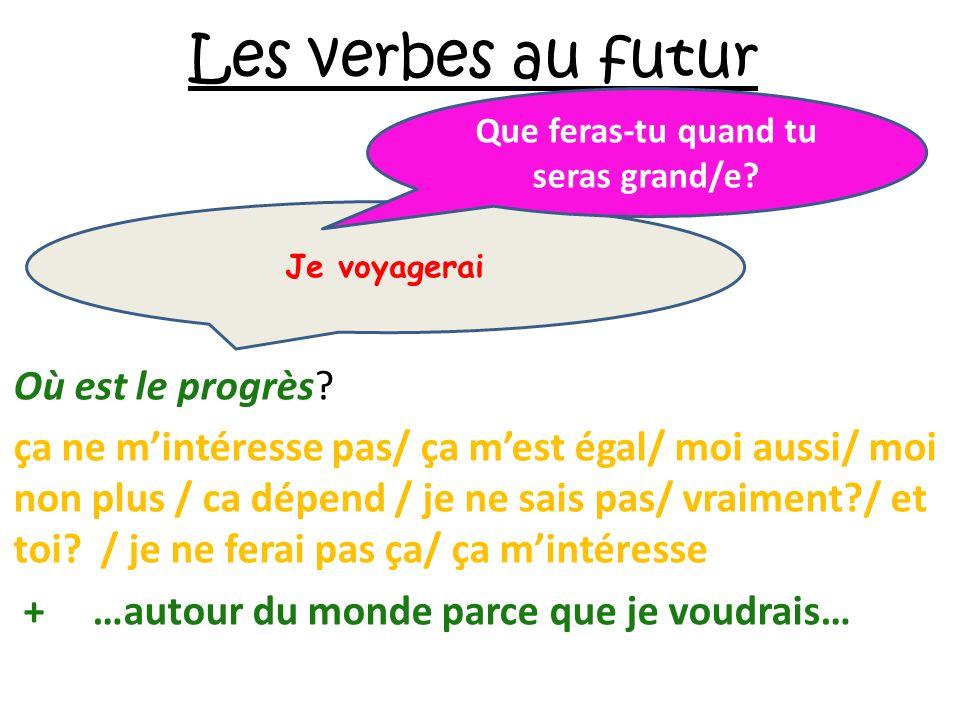 Les verbes au futur Où est le progrès? ça ne mintéresse pas/ ça mest égal/ moi aussi/ moi non plus / ca dépend / je ne sais pas/ vraiment?/ et toi? /