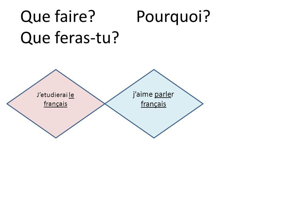 jaime parler français Jetudierai le français Que faire? Pourquoi? Que feras-tu?