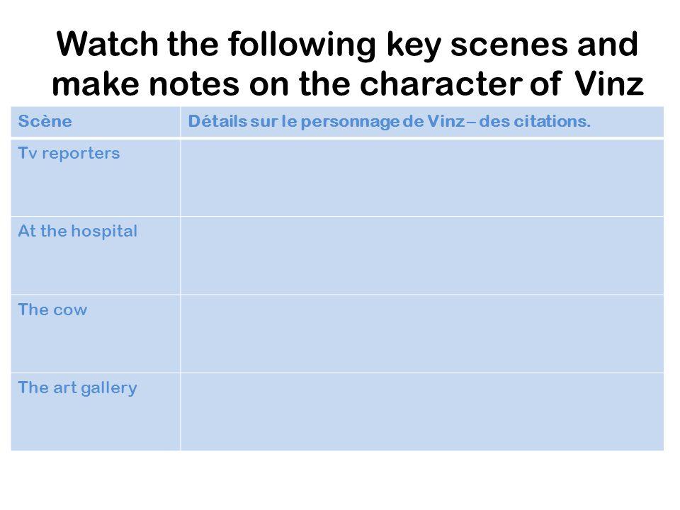 Watch the following key scenes and make notes on the character of Vinz ScèneDétails sur le personnage de Vinz – des citations. Tv reporters At the hos