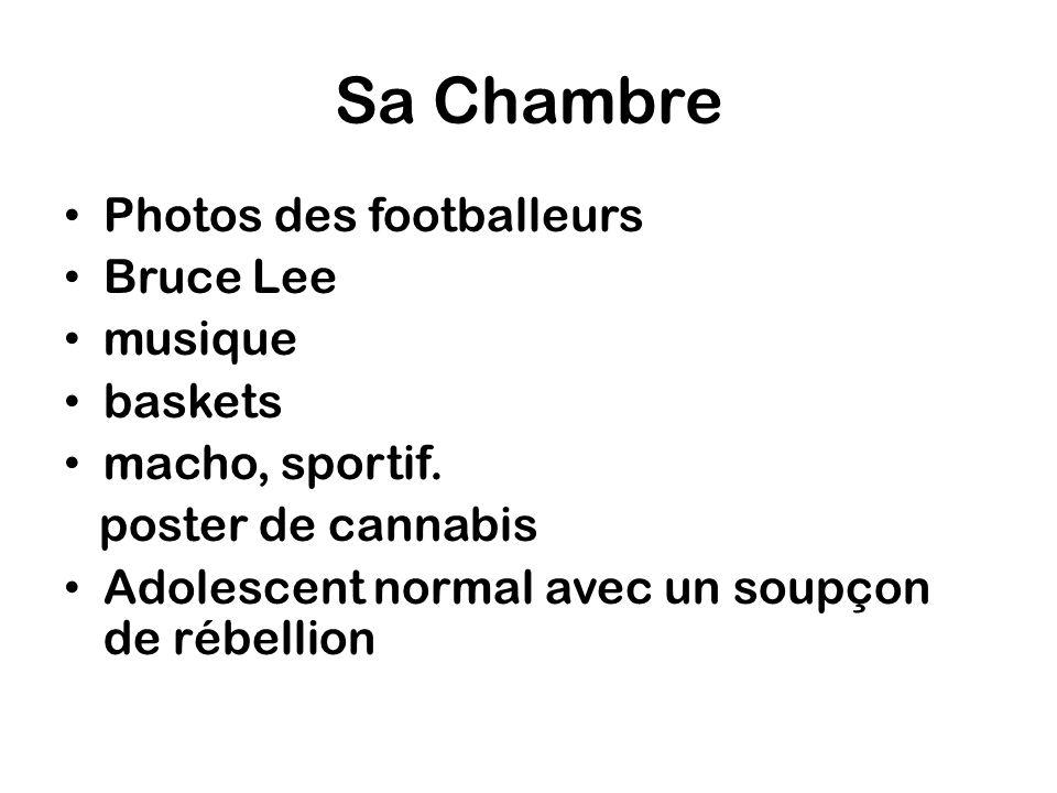 Sa Chambre Photos des footballeurs Bruce Lee musique baskets macho, sportif. poster de cannabis Adolescent normal avec un soupçon de rébellion