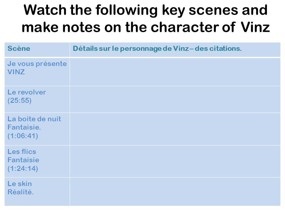 Watch the following key scenes and make notes on the character of Vinz ScèneDétails sur le personnage de Vinz – des citations. Je vous présente VINZ L