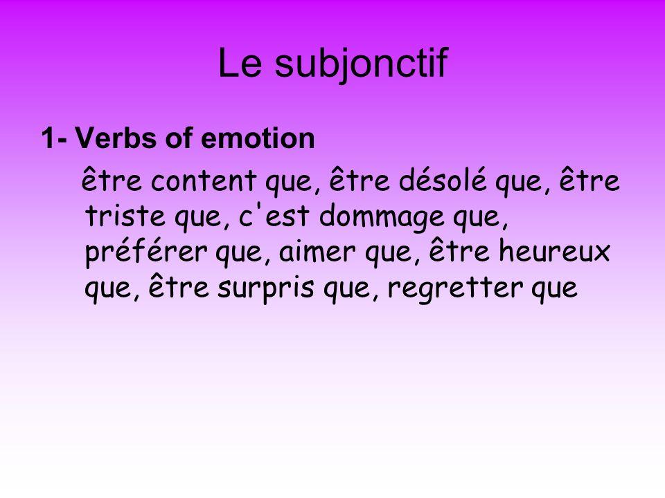 Le subjonctif 1- Verbs of emotion être content que, être désolé que, être triste que, c est dommage que, préférer que, aimer que, être heureux que, être surpris que, regretter que