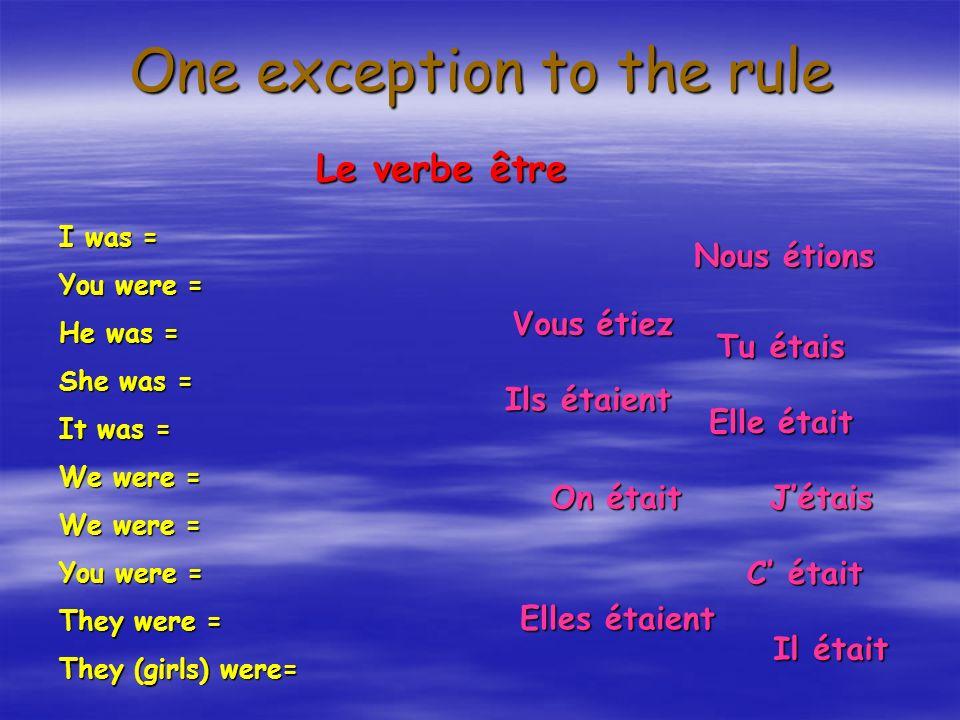 One exception to the rule Le verbe être I was = You were = He was = She was = It was = We were = You were = They were = They (girls) were= Jétais Tu étais Il était Elle était C était Nous étions On était Vous étiez Ils étaient Elles étaient