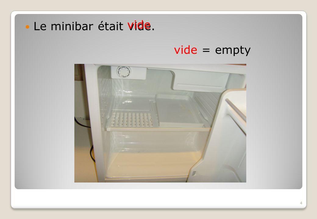 Le minibar était vide. vide vide = empty 4