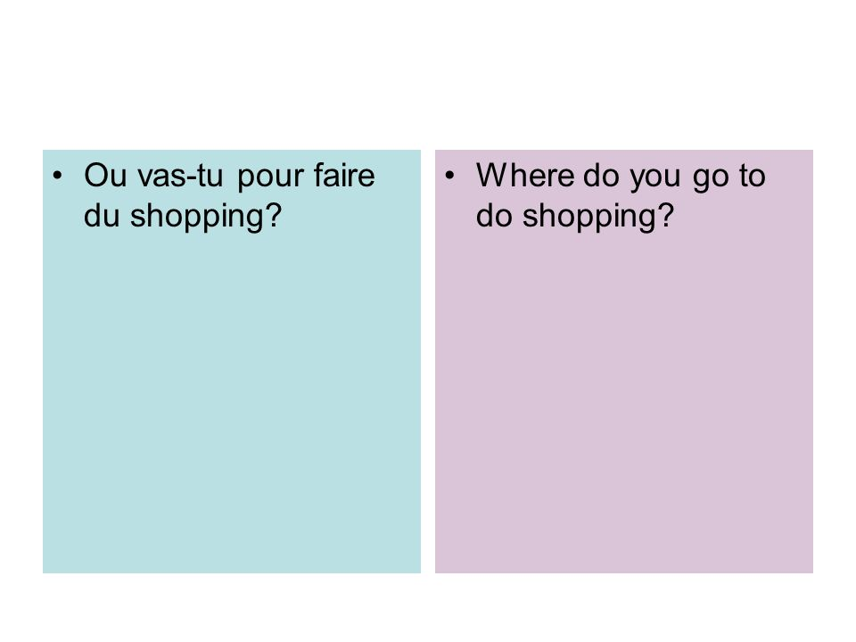 Ou vas-tu pour faire du shopping? Where do you go to do shopping?
