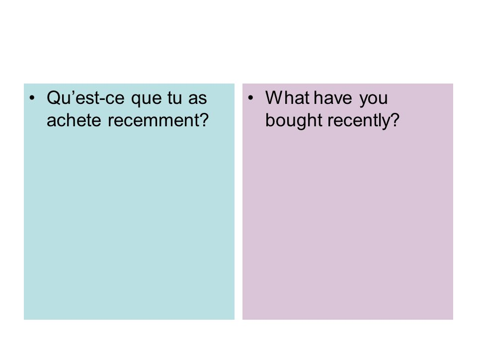 Quest-ce que tu as achete recemment? What have you bought recently?
