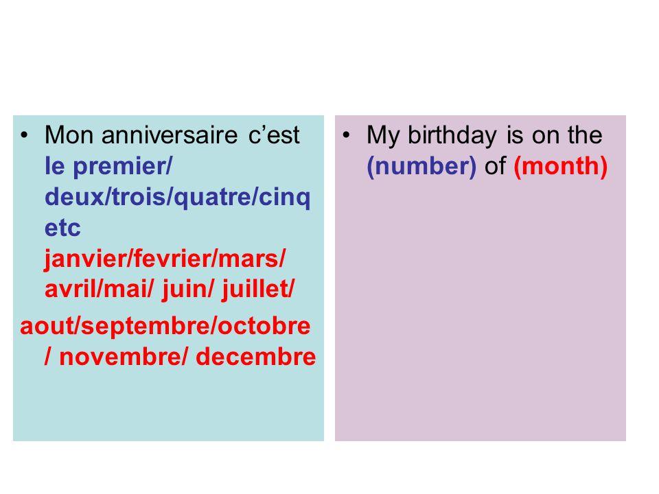 Mon anniversaire cest le premier/ deux/trois/quatre/cinq etc janvier/fevrier/mars/ avril/mai/ juin/ juillet/ aout/septembre/octobre / novembre/ decemb