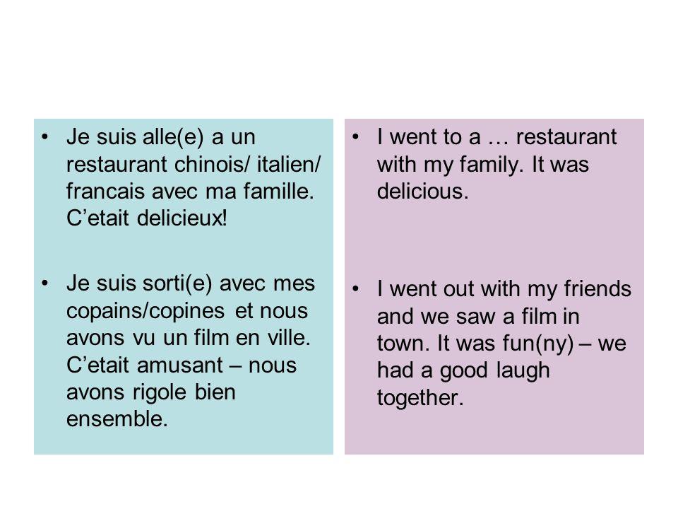 Je suis alle(e) a un restaurant chinois/ italien/ francais avec ma famille. Cetait delicieux! Je suis sorti(e) avec mes copains/copines et nous avons