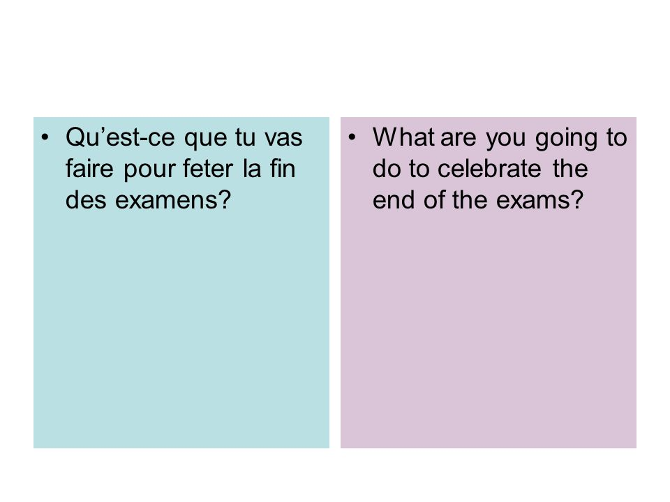 Quest-ce que tu vas faire pour feter la fin des examens? What are you going to do to celebrate the end of the exams?
