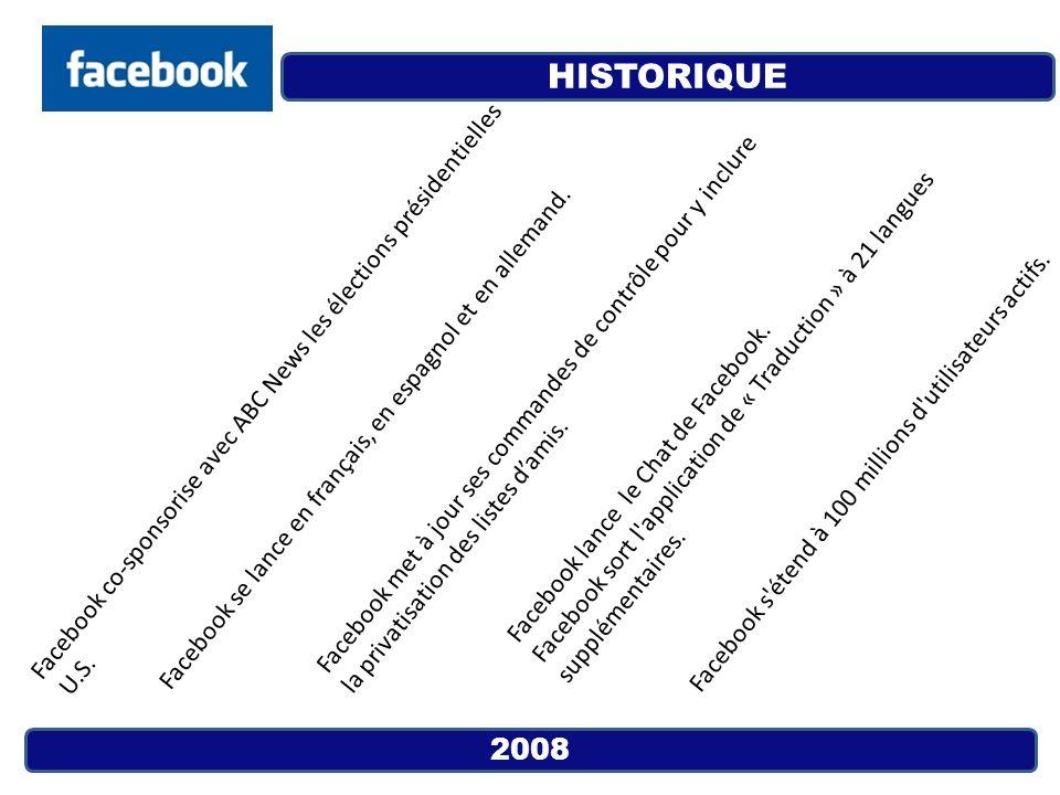 2008 Facebook co-sponsorise avec ABC News les élections présidentielles U.S. Facebook se lance en français, en espagnol et en allemand. Facebook met à
