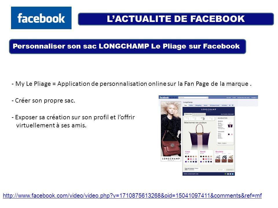 LACTUALITE DE FACEBOOK Personnaliser son sac LONGCHAMP Le Pliage sur Facebook http://www.facebook.com/video/video.php?v=1710875613268&oid=15041097411&