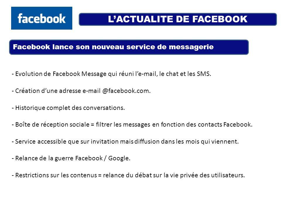 LACTUALITE DE FACEBOOK Facebook lance son nouveau service de messagerie - Evolution de Facebook Message qui réuni le-mail, le chat et les SMS. - Créat