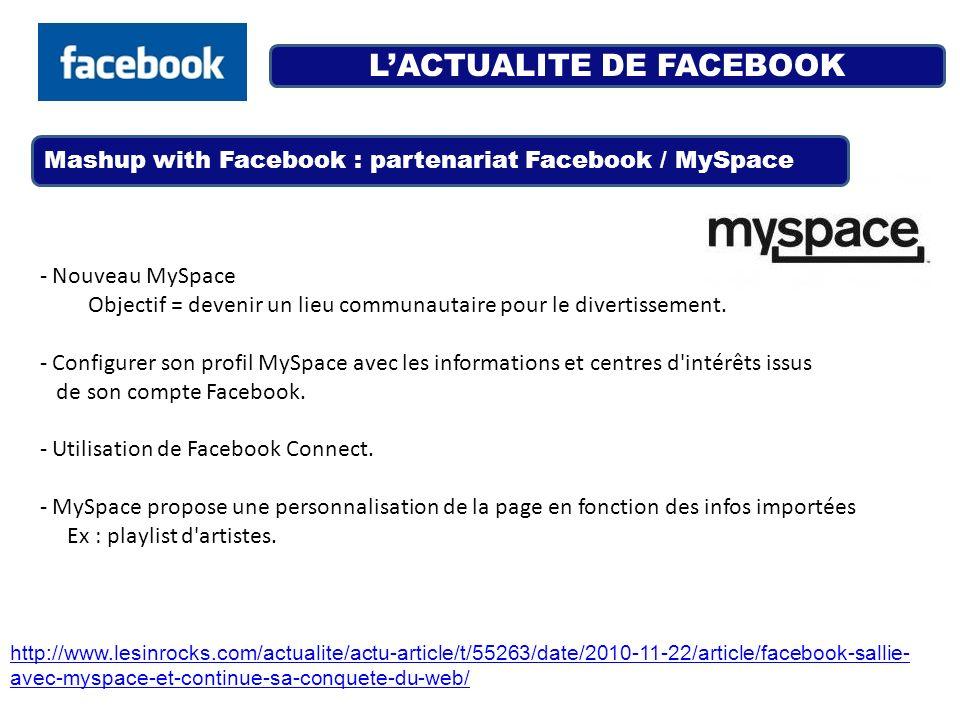 LACTUALITE DE FACEBOOK Mashup with Facebook : partenariat Facebook / MySpace http://www.lesinrocks.com/actualite/actu-article/t/55263/date/2010-11-22/