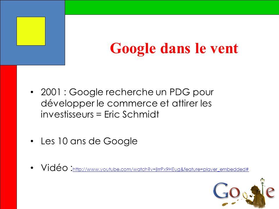 Google dans le vent 2001 : Google recherche un PDG pour développer le commerce et attirer les investisseurs = Eric Schmidt Les 10 ans de Google Vidéo