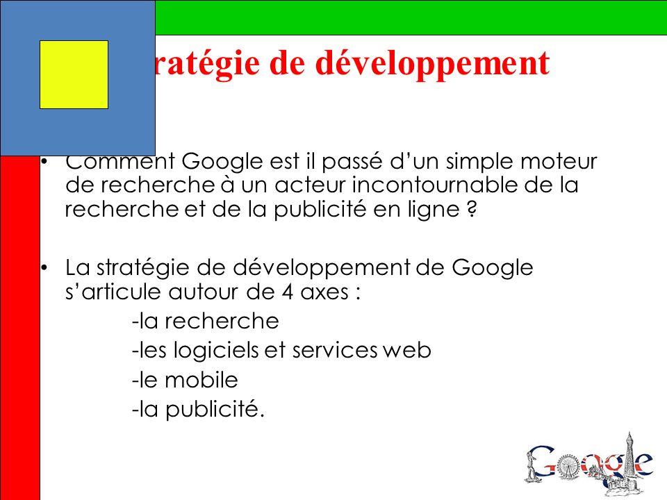 Stratégie de développement Comment Google est il passé dun simple moteur de recherche à un acteur incontournable de la recherche et de la publicité en