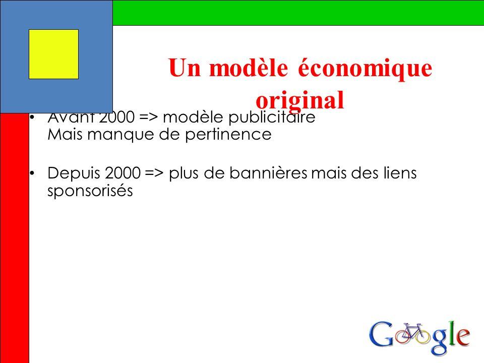 Un modèle économique original Avant 2000 => modèle publicitaire Mais manque de pertinence Depuis 2000 => plus de bannières mais des liens sponsorisés