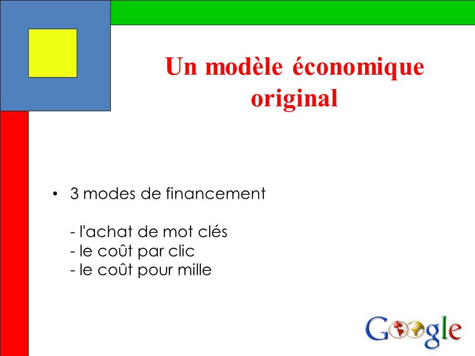 3 modes de financement - l'achat de mot clés - le coût par clic - le coût pour mille Un modèle économique original
