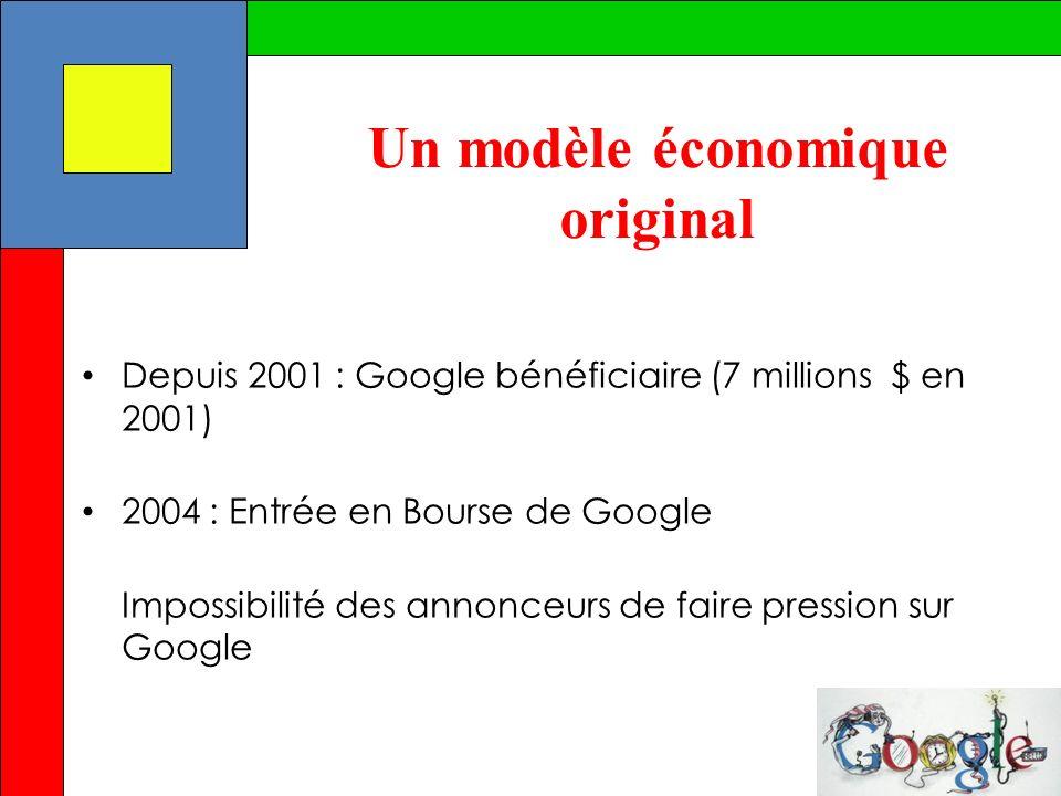 Depuis 2001 : Google bénéficiaire (7 millions $ en 2001) 2004 : Entrée en Bourse de Google Impossibilité des annonceurs de faire pression sur Google U